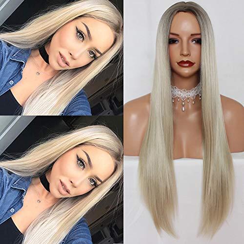 PlatinumHair Perruque longue et raide synthétique - Blond platine - Racines marron clair - Résistante à la chaleur - Pour femme tendance