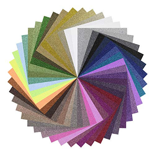 """Peel's Glitter HTV Heat Transfer Vinyl - Customize from 47 Variety of Colors and Patterns! - 10 Pack 12"""" x 15"""" Premium Vinyl Sheets for Iron On T-Shirts, Silhouette Cameo, Cricut, Heat Press Machine"""