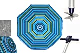 Pincho Sombrillas MORAIRA Playa/jardín Anti-VUELCO 2m Aluminio UPF+50 99% UV Punta de Aluminio Reforzado 16 Varillas(Rayas Azul)