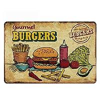 オリジナルヴィンテージデザインティンメタルウォールアートサイン、ハンバーガー厚いブリキプリントポスターウォールデコレーション