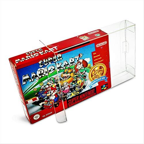 50 x Klarsicht Schutzhüllen für Super Nintendo SNES OVP 0,5 mm Passgenau und Glasklar-PET-Reset Retro Game Protectors-cases-box-Staubdicht-UV-Schutz