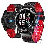 LIDOFIGO Smartwatch Smart Armband blutdruck Uhr mit herzfrequenz wasserdicht Fitness Tracker aktivitätstracker Bluetooth Sports Watch Schlafmonitor schrittzähler smart Armband für iOS Android (Rot)