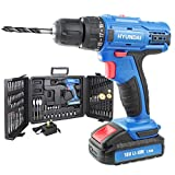 Hyundai HY2175 18V Li-Ion Cordless, Screwdriver, 1 Year Warranty, 1.5Ah Rechargeable Battery, Includes 89 Drill Bit Accessories & Carry Case, 2 Speed, Blue, 18 V
