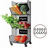 Cestas de Frutas y Verduras Colgantes de 3 Niveles con Rueda-Organizador de La Cesta,5pcs ...