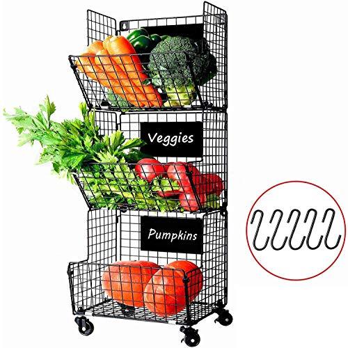 X-cosrack Cestas de Frutas y Verduras Colgantes de 3 Niveles con Rueda-Organizador de La Cesta,5pcs S-Hooks,Pizarras Extraíbles, Cocina,Frutas,Verduras,Artículos de Tocador,Negro
