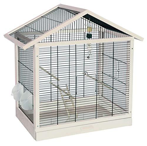 PETGARD Vogelheim Vogelkäfig Monaco aus Holz schwarz-Weiss mit Schublade und Spielzeug