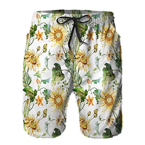 Pantalones Cortos De Playa para Hombres,Acuarela Brillante otoño Fondos de Escritorio Girasoles maíz,Pantalones De Chándal De Secado Rápido, Bañador De Verano para Ejercicios Al Aire Libre M