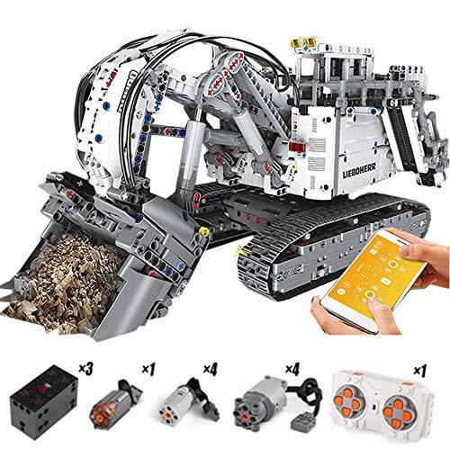 WDLY 13130 Bagger Motor Kran Set, Kompatibel 42100 Liebherr R 9800 Bagger Building Blocks Bricks Lernspielzeug Kinder (4062 PCS)