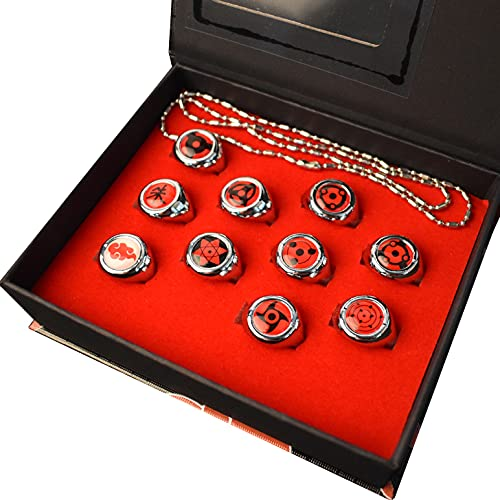 Juego de 10 anillos de Naruto en caja, anillos Akatsuki, juego de anillos de Miembro Cosplay, caja de Itachi Sharingan para los fans de Cosplay Ninja
