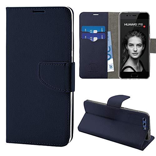N NEWTOP Cover Compatibile per Huawei P10, HQ Lateral Custodia Libro Flip Magnetica Portafoglio Simil Pelle Stand (per P10, Blu)
