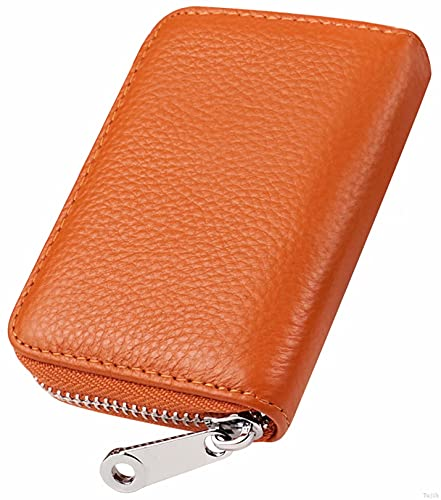 Women Credit Card Holder Small Rfid Wallet Zipper Genuine Leather Accordion Wallets Case for Womens id Compact Slim Zip 12 Individual Credit Card Slots And 2 Cash Slots Orange