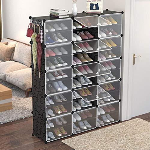 HGDD Rack de Zapatos DIY Cube DE Almacenamiento ENTRANJERO CERRADERO DE Pantalla DE Pantalla DE Pantalla DE PLÁSTICA Gabinete de Armario de plástico 10 Grados Negro Estante de Zapatos
