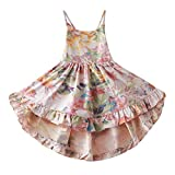 Toddler Vintage Floral Girls Dress Twirly Dresses Swallowtail Dress,Pink 4-5Y