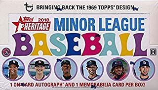 2018 Topps Heritage Minor League Baseball HUGE Factory Sealed HOBBY Box with TWO(2) AUTOGRAPH/MEMORABILIA Cards! Absolutely Loaded with The Best Young Baseball Future Superstars in the Game! WOWZZER!