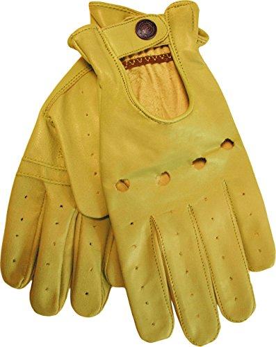 German Wear Herren Driving Autofahrer-Handschuhe Lederhandschuh in gelb L