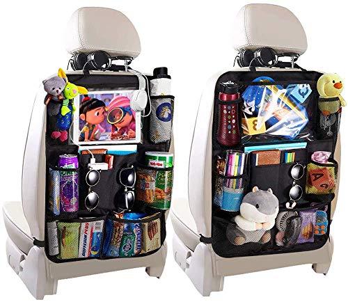 Termichy Auto-Rückenlehnenschutz, Rückenlehnen-Tasche, Trittschutz mit Rücksitz-Organizer, Rücksitzschoner, Kick-Matten-Schutz für den Autositz mit durchsichtigem extra großen iPad-Tablet-Halter