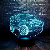 DFDLNL Efecto 3D Ilusión SUV Coche 7 Cambio de Color Energía de la batería Cambio USB LED Home Bar Decoración Mesa Luz Nocturna Regalo de Amigos