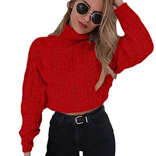 Hemlock Suéter feminino de inverno tricotado gola rolê Cropped, casaco pulôver de gola alta, Vermelho, X-Large