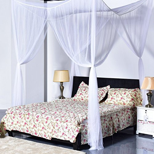 Goplus Mosquito Net, 4 Corner Post Bed Canopy, Quick and Easy Installation for King Size Beds Large Queen Size Bed Curtain (White)