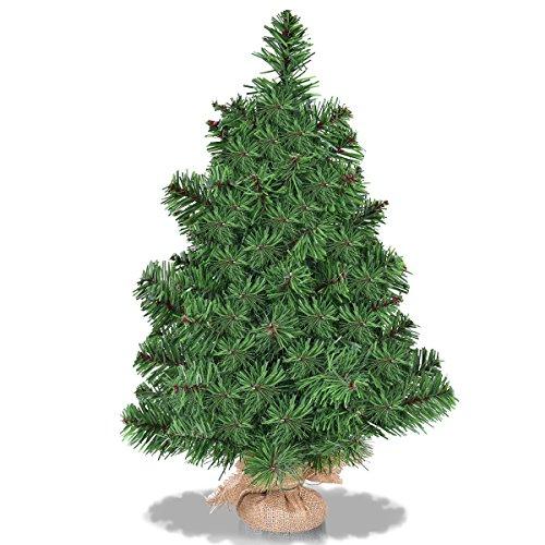 Goplus 2 Ft Christmas Tree Tabletop Artificial PVC Green Spruce Tree in Burlap Base