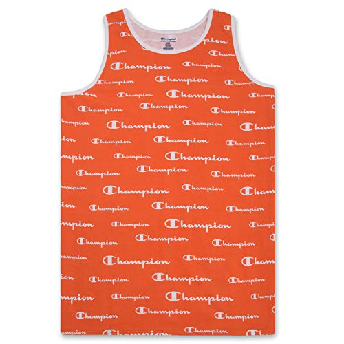 Big and Tall Men's Workout Tank Top - Sleeveless Gym Jersey Muscle Shirt Orange White 4X