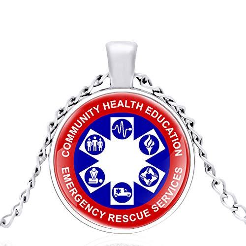 Community Health Education Notfall-Rettungsdienste Glaskuppel Metall Klassische Halskette Retro Männer Und Frauen Schmuck Geschenkkette Länge 80Cm