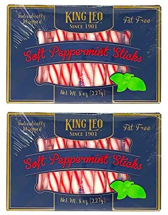 King Leo Soft Peppermint Sticks - 8 oz Pack of Two