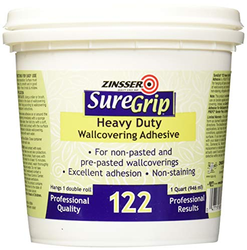 Rust-Oleum Clear 69384 1-Quart SureGrip 122 Heavy Duty Strippable Wallpaper Adhesive, 1 Pack