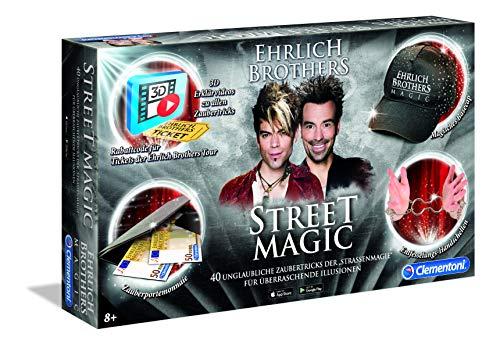 Clementoni 59049 Ehrlich Brothers Street Magic, Zauberkasten für Kinder ab 8 Jahren, magisches Equipment für 40 verblüffende Zaubertricks, inkl. 3D Erklärvideos, als Geschenk zu Ostern