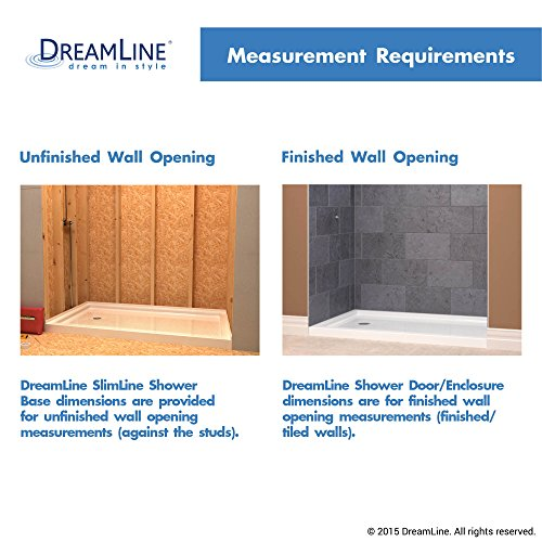 DreamLine SlimLine 34 in. D x 60 in. W x 2 3/4 in. H Right Drain Single Threshold Shower Base in White, DLT-1134602