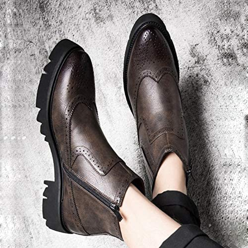 Shukun botas de hombre botas de Martin de Fondo Grueso hombres Retro PU Puntiaguda Chelsea botas de Hombre botas otoño