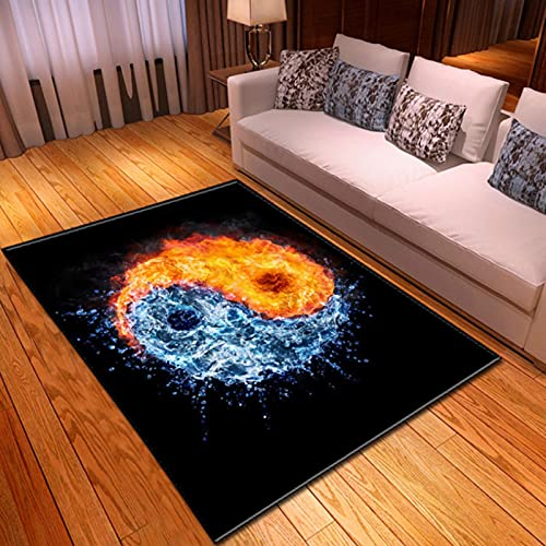 PHhomedecor Furry Ice and Fire Tai Chi Carpet, Soft and Comfortable Area Mat For Children's Bedroom, Non-Slip and Washable 180X200cm