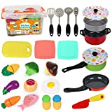 D-FantiX Kids Play Kitchen Accessories Set, 24Pcs Toddlers Tin Pots and Pans Playset Pretend Cooking Toys, Cookware &Utensils, Cutting Vegetables for Boys Girls Age 3 4 5 6 7 Years Old Children