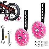 Sunshine smile ruedas de entrenamiento para bicicleta infantil, ruedas de apoyo para niños, ruedas estabilizadoras universales para niños, en ruedas de 16 a 22 pulgadas (rosa brillante).