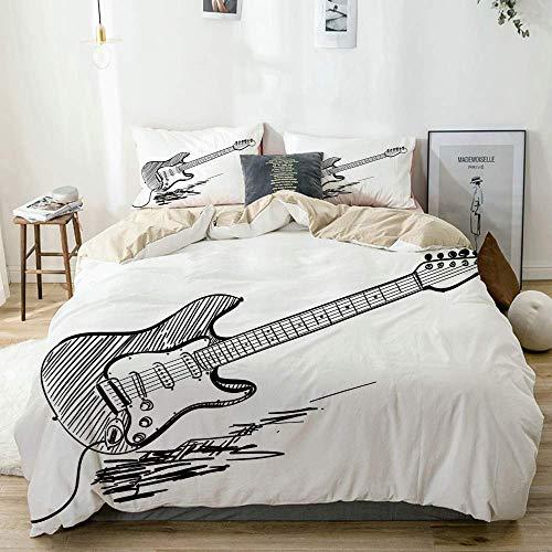 Juego de Funda nórdica Beige, Estilo Dibujado a Mano, Guitarra eléctrica sobre...