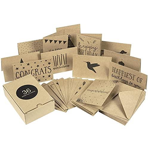 Surtido de tarjetas de felicitación con sobres en caja para todas las ocasiones, 36 diseños (10,1 x 15,2 cm, 36 unidades)
