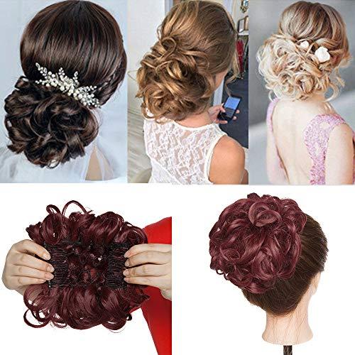 Haar Extensions Haarteil Dutt Haarverlängerung Haargummi Hochsteckfrisuren Donut wie Echthaar Weinrot