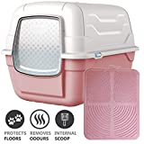 CatCentreⓇ Pink Hooded Large Litter Box Scoop Filter & Pink Mat Covered Tray
