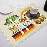 Tablas de comedor de lino con aislamiento térmico para cocina, símbolos de Oktoberfest alemanes, salchicha de trigo, cerveza y pretzels Col, para comedor y cocina, mesa de restaurante, juego de 8