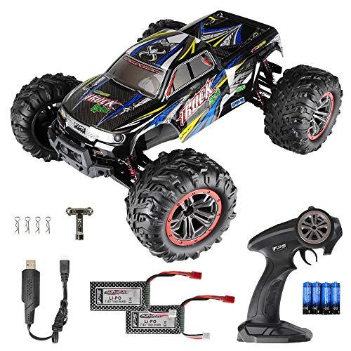 RC Monstertruck 1:10 FPS V10 (Version 2021) Offroad Elektro Auto - Dual Motor bis zu 50 km/h - 4WD - Allradantrieb, IPX4 Wasserdicht, 34cm, Differentiale, 2.4G Fernbedienung, 2 Speeds, 2X Akku, 3xAA