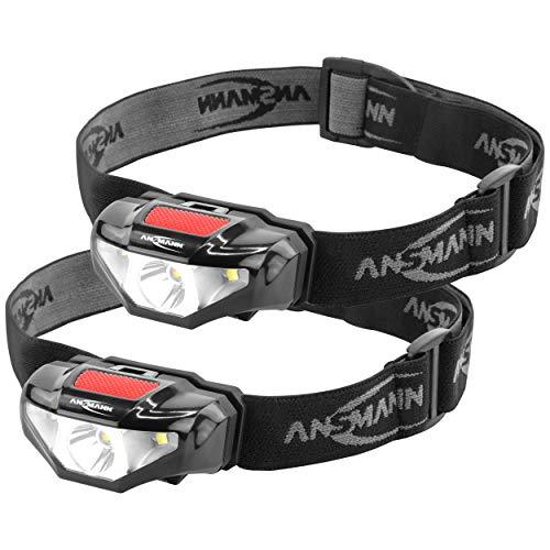 ANSMANN LED Stirnlampe HD70B 2er Set mit 65 Lumen, IP44 Spritzwasserschutz, 80m Reichweite, 3 Funktionen - 3W Kopflampe ideal zum Radfahren, Laufen mit Hund, Joggen, Angeln, Camping & Werkstatt