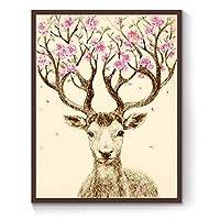 数字によるDIYデジタル絵画パッケージ幸運鹿油絵壁画キットぬりえ壁アート画像ギフトフレームなし40×50センチ