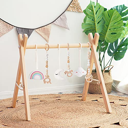 Wooden Baby Play Gym, Baby Gym with Pull Ring, Toddler Activity Center with 6 Hanging Toys, Hanging Bar, Easy to Assemble