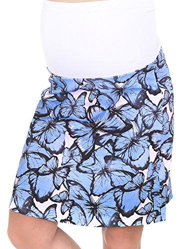 Mija - Umstandsrock für den Sommer/Sommerrock mit Blumen 1044 (XL, Blau)
