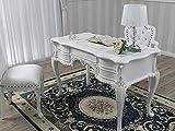 Simone Guarracino Schreibtisch Diana Moderner Chippendale Stil cm 180 weiß lackiert und Blattsilber Kunstleder weiß