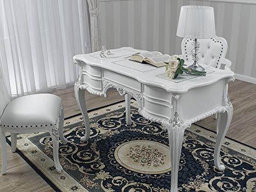 SIMONE GUARRACINO LUXURY DESIGN Schreibtisch Diana Moderner Chippendale Stil cm 180 weiß lackiert und Blattsilber Kunstleder weiß