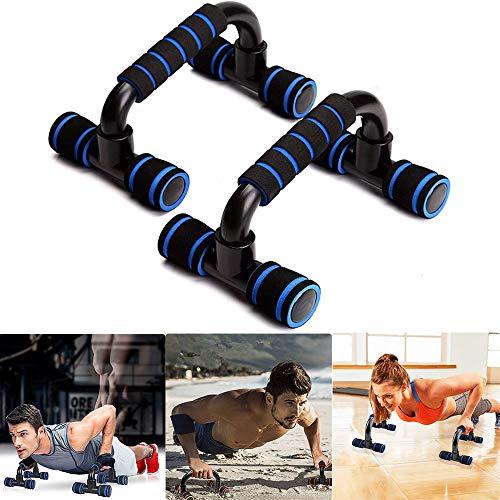 1 paar I-vormige push-up stands Handvat, push-up stangen Uitrusting met gedempte schuimgreep en antislip stevige structuur, plastic borsttraining Ondersteuning voor krachttraining (Blauw)
