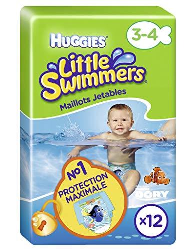 Huggies Little Swimmers - Bañador desechable para bebé de 3 a 3 años, 12 unidades (lote de 2 unidades de 24 camisetas)