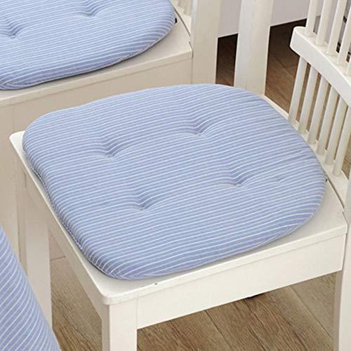 WATCBQ - Cojín cuadrado portátil para silla (40 x 42 x 3 cm), diseño de rayas, color azul