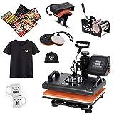 SUPER DEAL PRO 5 in 1 Heat Press Machine Multifunction Sublimation T Shirt Press Machine Hat/Mug/Plate/Cap/T-Shirt